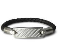 CAM33023  Herren-Armband Edelstahl Leder 22 cm