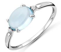 Damen-Ring 375 Weißgold rhodiniert Topas blau Ovalschliff Diamant (0.02 ct)