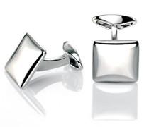 Herren-Manschettenknöpfe 925 Sterling Silber silber V460 Quadrat-Manschettenknöpfe mit abgerundeten Ecken