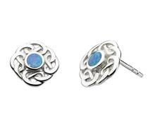 Ohrstecker aus Sterling-Silber mit Knotenmuster und synthetischem Opal