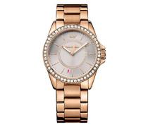 Juicy Couture Laguna Damen-Quarzuhr mit schwarzem Zifferblatt Analog-Anzeige und Gold Rose Gold Armband 1901410