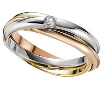 Damen-Ring 9 Karat 375 Tricolor Tricolor 1 Brillant 0,10 ct. Gr. 54 (17.2) So R3422TR37554 Schmuck