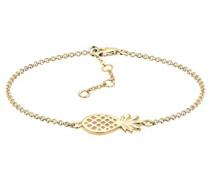 Damen Schmuck Armband Gliederarmband Ananas Tropical Urlaub Trend Blogger Silber 925 Vergoldet Länge 17 cm