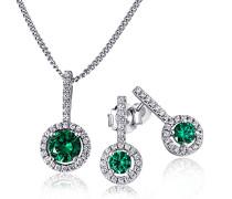 Goldmaid Damen-Schmuckset Collier + Ohrringe 925 Sterlingsilber Smaradgfarbene Zirkonia
