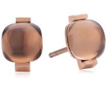 Damen-Ohrstecker Vergoldetes Metall Rauchquarz braun 411921G0