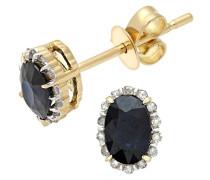 Damen-Ohrstecker 18k 0,80k Saphir und Diamant ovale Cluster Ohrringe 750 Gelbgold teilrhodiniert schwarz Rundschliff - DE1400SA-18KY