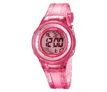 Damen-Armbanduhr Digital mit Digital Display und Pink Zifferblatt pink Kunststoff Strap k5688/2