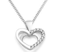 Miore Damen-Halskette mit Anhänger 9 Karat (375) Weißgold Diamant (0,07 Karat) 45 cm-MKW9009N