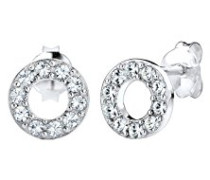 Damen-Ohrstecker Kreis 925 Silber Kristall Brillantschliff weiß   - 0310792814