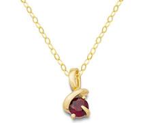 Damen Halskette 9 Karat (375) Gelbgold Rubin rot