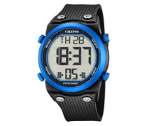 Unisex Armbanduhr Digitaluhr mit LCD Zifferblatt Digital Display und schwarz Kunststoff Gurt k5705/1