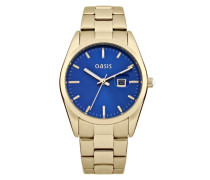 Damen Quarzuhr mit Blau Zifferblatt Analog Display und Gold Andere Armband b1368