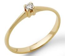 Miore 18 Karat (750) Gelbgold 52 (16.6) Damenring, mit  1 (0,07 cts) Diamant