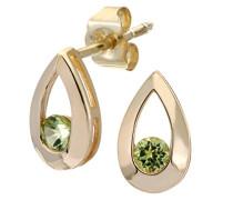 Damen-Ohrstecker 9 K Tränen 0,25 ct Peridot Ohrringe 375 Gelbgold grün rundschliff