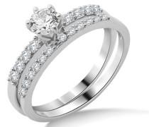 Damen-Ring 925 Sterling Silber 2-teilig Zirkonia