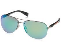 Prada Linea Rossa Herren Sonnenbrille PS56MS, Schwarz (Demi-Shiny Pewter 5AS1M2), One size (Herstellergröße: 65)