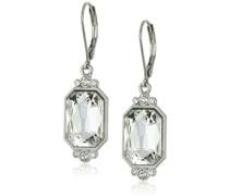 Silber-Kristall Ohrringe achteckig