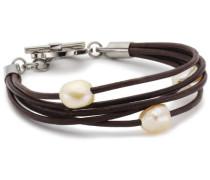 Damen-Armband 5 Leder Braun, 3 Perlen Rose 0363-01