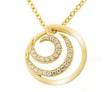 Damen-Anhänger mit Kette Silber vergoldet teilvergoldet Zirkonia weiß Brillantschliff - ZH-7084/2