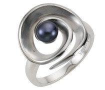 Damen-Ring 925 Sterlingsilber Süßwasserzuchtperle schwarz