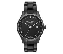 119CBBLB Herren-Armbanduhr Analog Quarz Edelstahlband schwarzes Zifferblatt LW19