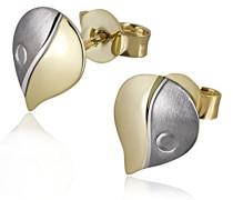 Damen-Ohrstecker Bicolor 375 Gelbgold Ohrringe Schmuck