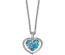 Damen Halskette 925 Sterling Silber rhodiniert Glas Zirkonia Le Coeur Brillant 42 cm blau S.PCNL90457B420