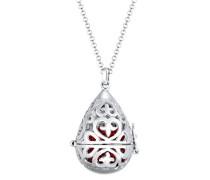 Premium Damen-Kette mit Anhänger 925 Silber rhodiniert Swarovski Kristall rot Brillantschliff Synthetik Perle Weiß 70 cm
