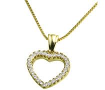 Damen-Halskette 9 Karat 375 Gelbgold Herz 26 Diamanten 0,18 ct. 45 cm Herzkette Schmuck Diamantkette
