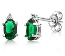 Miore Damen-Ohrring 9 Karat (375) Weißgold Smaragd