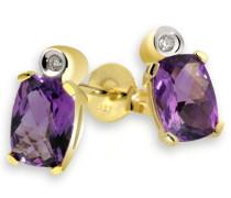 Ohrstecker Gelb Gold 333 2 Amethyst 2 Diamanten 0,02 ct., Fa O972GG Ohrringe Brillanten Schmuck