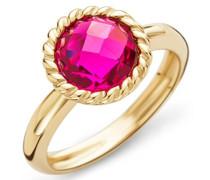 Miore Damen-Ring 9 Karat ( 375 ) Gelbgold Granat Stein 2.9 ct. Quarz rot Rundschliff Gr. 58 (18.5) - MNA9025R8