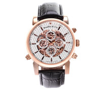 Automatik Armbanduhr von  für Männer mit einem echten Diamanten mit Weißem Zifferblatt Analoger Anzeige und Schwarzem Armband aus Leder SK14H057