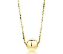 Damen-Halskette 9 Karat 375 Gelbgold Anhänger rund 45cm