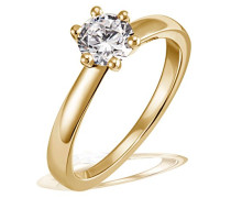 Solitär Damen-Ring 6er Stotzen 750 Gold 1 Brillant Si 1 weiß 0,50 ct. Inkl. externer Expertise