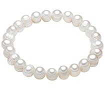 Damen-Armband elastisch Hochwertige Süßwasser-Zuchtperlen in ca. 8 mm Barock weiß 19 cm - Perlenarmband mit echten Perlen weiss 446665