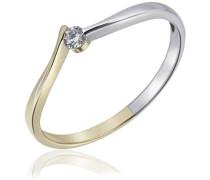 Damen-Ring Bicolor 375 Gold 1 weißer Zirkonia