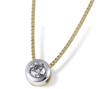 Damen-Halskette 585 Gelbgold 1 Brillant 0,10ct Kettenanhänger Schmuck