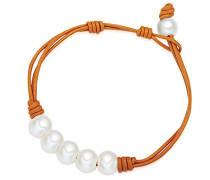 Damen-Armband Leder Perle Süßwasser-Zuchtperle Creme 19.5 cm - 60923023