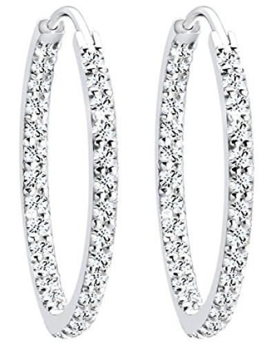 Damen Ohrringe Creolen 925 Sterling Silber Swarovski Kristalle weiß
