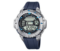 Herren Digitale Armbanduhr mit LCD Dial Digital Display und Blau Kunststoff Gurt k5689/4