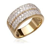 Orphelia Damen-Ring 925 Gold teilvergoldet Zirkonia weiß Rundschliff