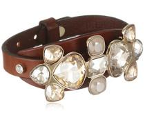 Damen-Armband Leder, braun, Kristall creme 21.5 cm - 337087