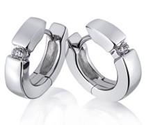 Damen-Creolen Solitär 585 Weissgold 2 Diamanten 014 ct. So O4496WG Ohrringe Brillanten Schmuck
