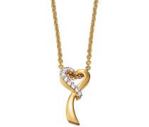 Damen Halskette 925 Sterling Silber rhodiniert Glas Zirkonia Arabesque Coeur 42 cm weiß S.PCNL90454B420