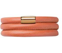 Damen-Armband Koralle 2-reihig Edelstahl teilvergoldet Leder 38.0 cm - 12510-38