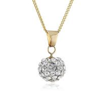Crystelle Damen-Anhnger mit Kette Kugel mit weien Swarovski Kristallen 42-45cm 500341131-45Z
