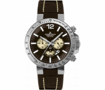 Herren-Armbanduhr XL Sport Chronograph Quarz Leder 1-1717E