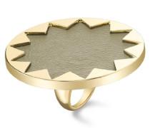 Cocktail-Ring mit Sonnenmotiv 14 Karat vergoldet khakifarbenes Leder