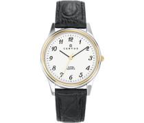 –611222–Armbanduhr–Quarz Analog–Weißes Ziffernblatt–Armband Leder Schwarz
